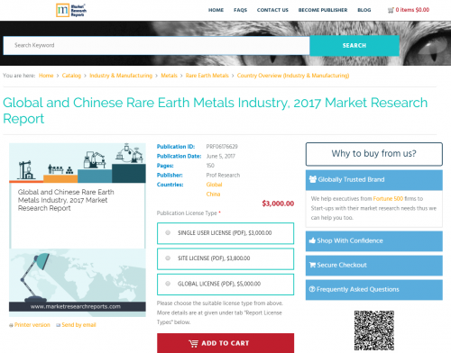 Global and Chinese Rare Earth Metals Industry, 2017 Market'