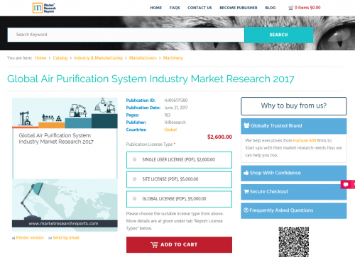 Global Air Purification System Industry Market Research 2017'