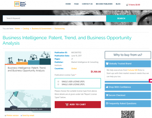 Business Intelligence: Patent, Trend, and Business'