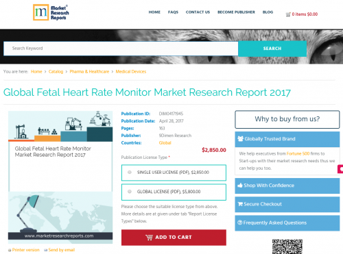 Global Fetal Heart Rate Monitor Market Research Report 2017'