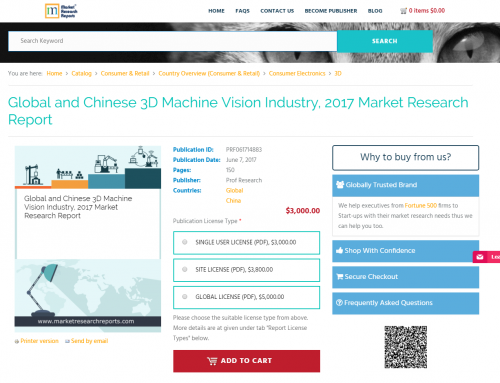 Global and Chinese 3D Machine Vision Industry, 2017'