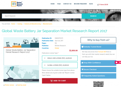 Global Waste Battery Jar Separation Market Research Report'