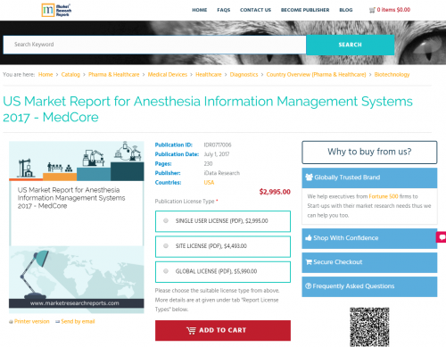 US Market Report for Anesthesia Information Management'