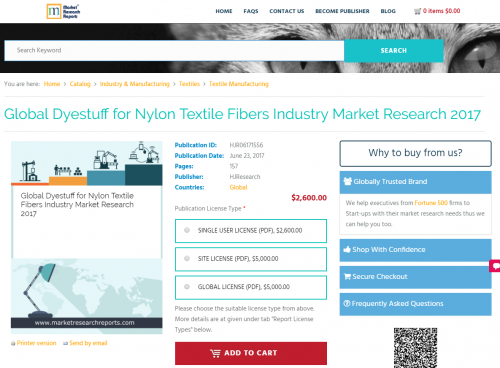 Global Dyestuff for Nylon Textile Fibers Industry Market'