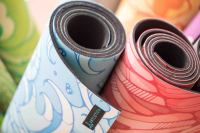 Artletica yoga mats rolled up for the next class.