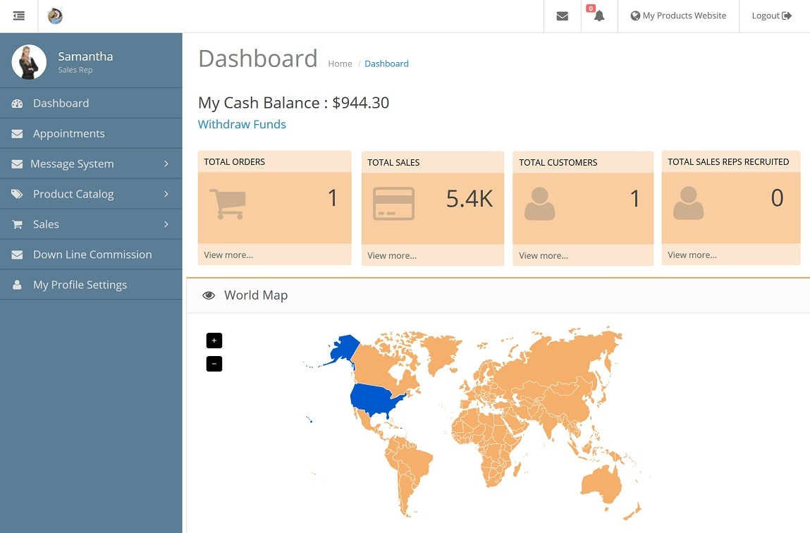 Independant Sales Rep Dashboard