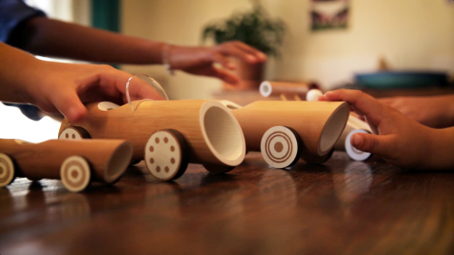 Bamboo toy cars playtime-1'