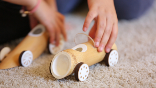 Bamboo toy cars playtime-4'