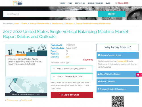 2017-2022 United States Single Vertical Balancing Machine'