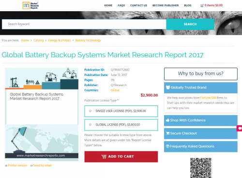 Global Battery Backup Systems Market Research Report 2017'