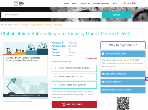 Global Lithium Battery Separator Industry Market Research'