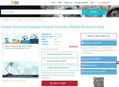 Global Textured Soybean Protein Industry Market Research'