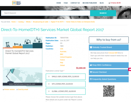 Direct-To-Home(DTH) Services Market Global Report 2017'
