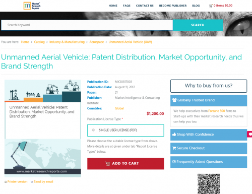 Unmanned Aerial Vehicle: Patent Distribution, Market'