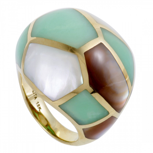 Polished Rock Candy 18K Yellow Gold Mother of Pearl and Agat'