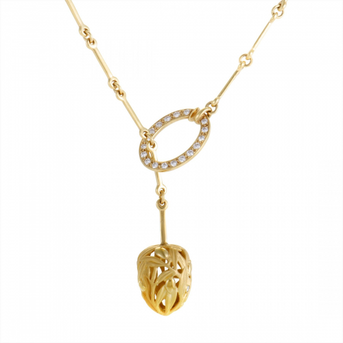 8K Yellow Gold and Diamond Floral Lariat Necklace'