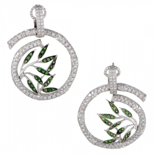 Bambú 18K White Gold Diamond and Tsavorite Spiral'