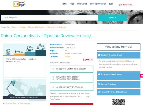 Rhino-Conjunctivitis - Pipeline Review, H1 2017'