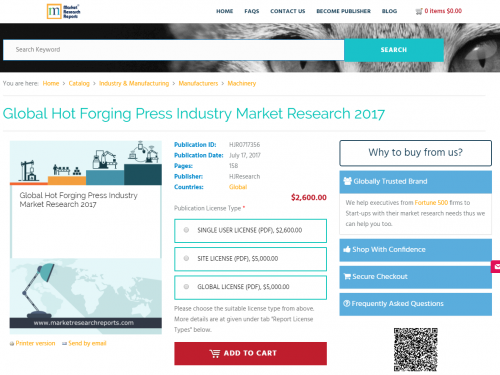 Global Hot Forging Press Industry Market Research 2017'