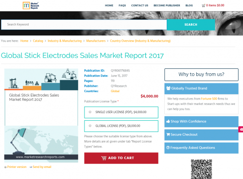 Global Stick Electrodes Sales Market Report 2017'