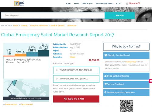 Global Emergency Splint Market Research Report 2017'