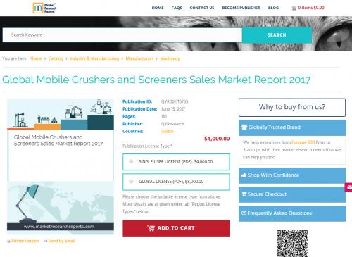 Global Mobile Crushers and Screeners Sales Market Report'