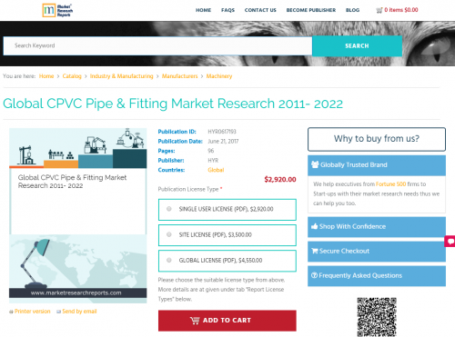 Global CPVC Pipe and Fitting Market Research 2011 - 2022'