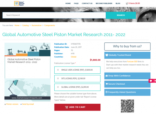 Global Automotive Steel Piston Market Research 2011- 2022'
