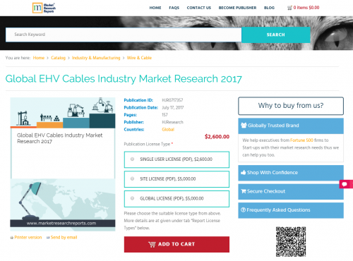 Global EHV Cables Industry Market Research 2017'