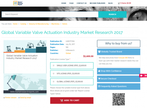 Global Variable Valve Actuation Industry Market Research'