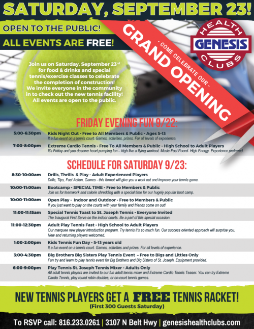 Genesis Health Clubs to Give Free Tennis Rackets to St. Jose'