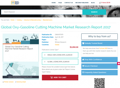 Global Oxy-Gasoline Cutting Machine Market Research Report'