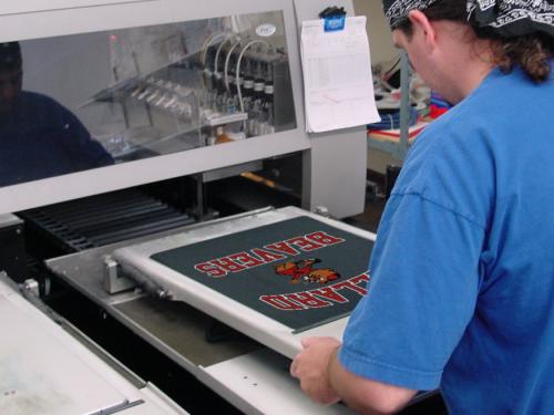 Ballard Beavers vintage logo on digital garment printer'