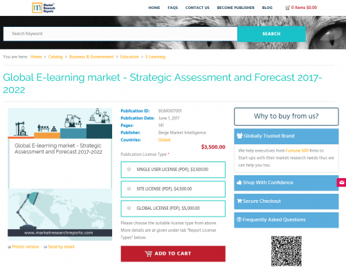 Global E-learning market - Strategic Assessment and Forecast'