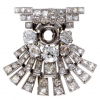 Antique Platinum Full Diamond Pave Mounting Brooch'