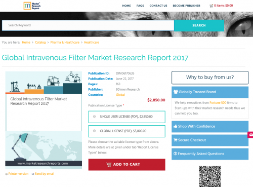 Global Intravenous Filter Market Research Report 2017'