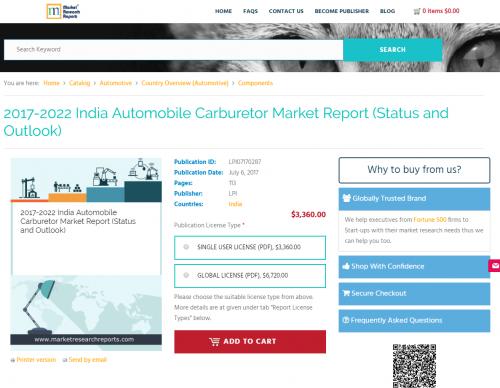 2017-2022 India Automobile Carburetor Market Report'