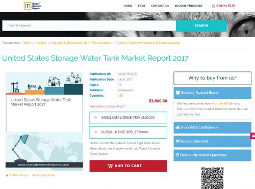 United States Storage Water Tank Market Report 2017'