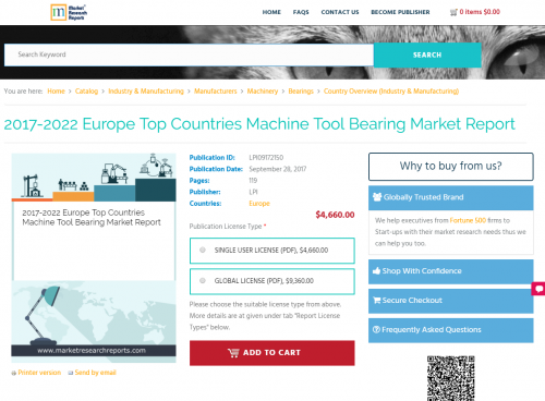 2017-2022 Europe Top Countries Machine Tool Bearing Market'