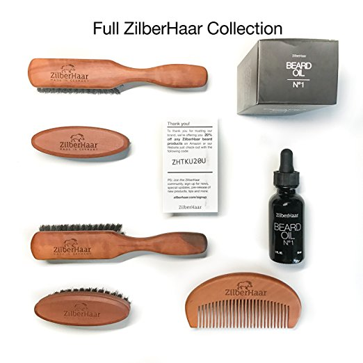 The ZilberHaar Beard Brush and Beard Oil Collection