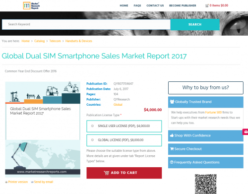 Global Dual SIM Smartphone Sales Market Report 2017'