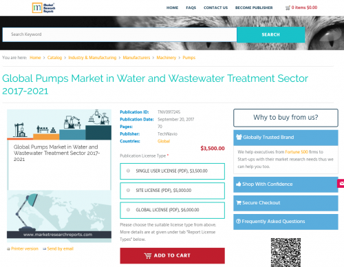 Global Pumps Market in Water and Wastewater Treatment Sector'