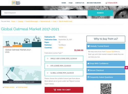 Global Oatmeal Market 2017 - 2021'