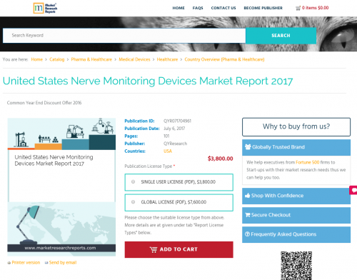 United States Nerve Monitoring Devices Market Report 2017'