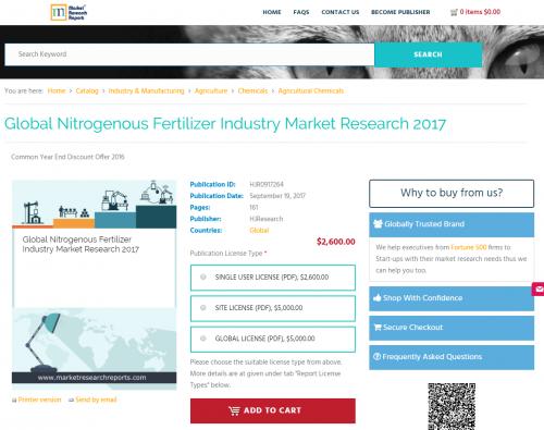 Global Nitrogenous Fertilizer Industry Market Research 2017'