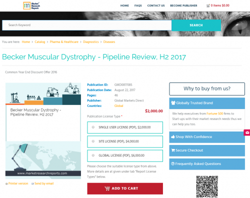 Becker Muscular Dystrophy - Pipeline Review, H2 2017'