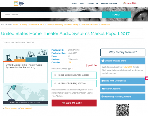 United States Home Theater Audio Systems Market Report 2017'