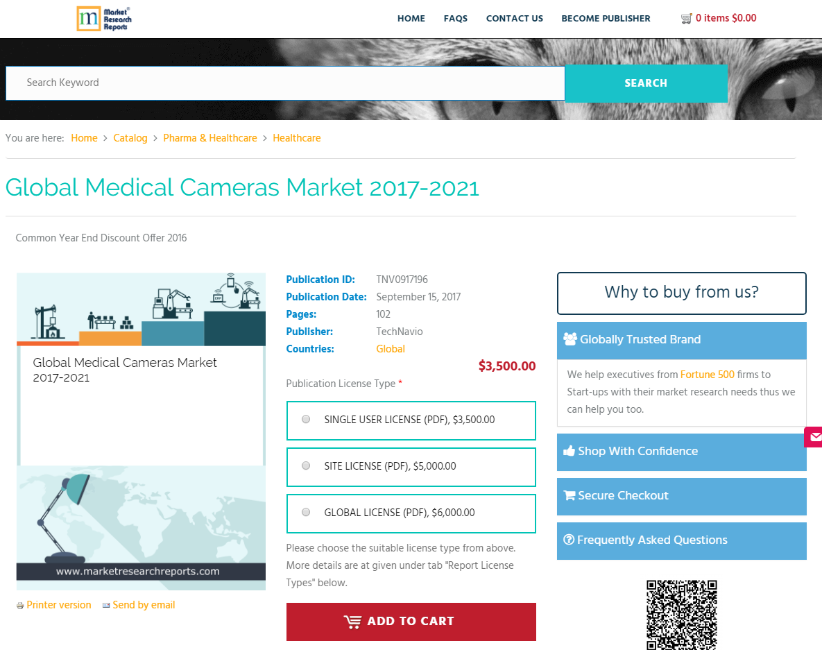 Global Medical Cameras Market to Grow at a CAGR of 5.77% During the Period 2017 - 2021; Finds New Report
