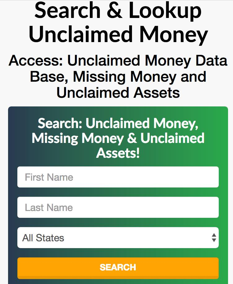 Unclaimed Money Search Tool