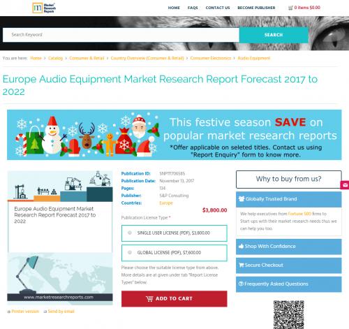Europe Audio Equipment Market Research Report Forecast 2017'